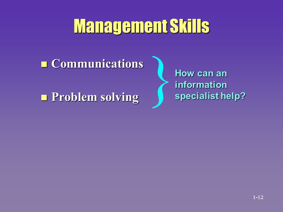 Management Skills Communications Problem solving