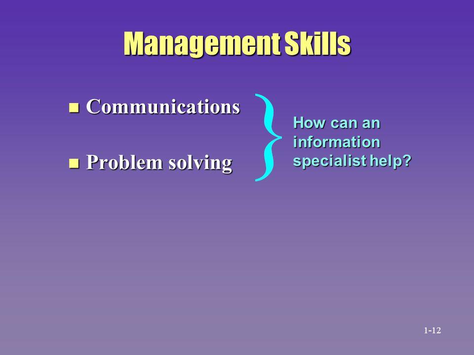 Management Skills Communications Problem solving