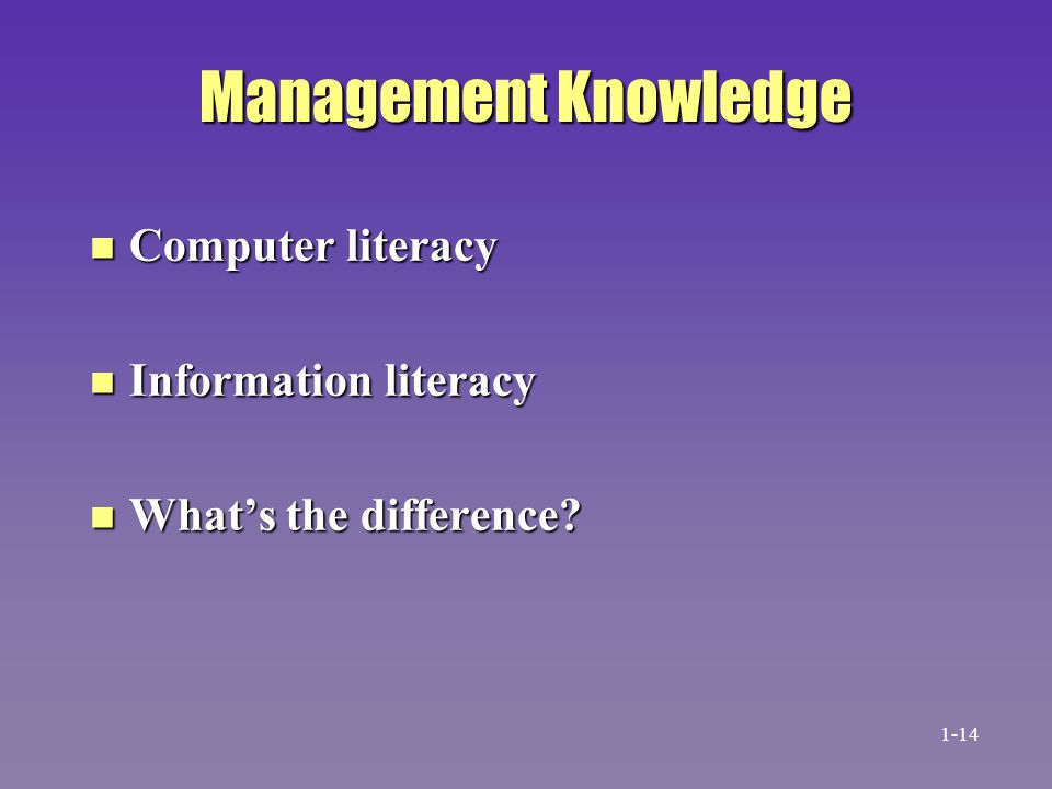 Management Knowledge Computer literacy Information literacy