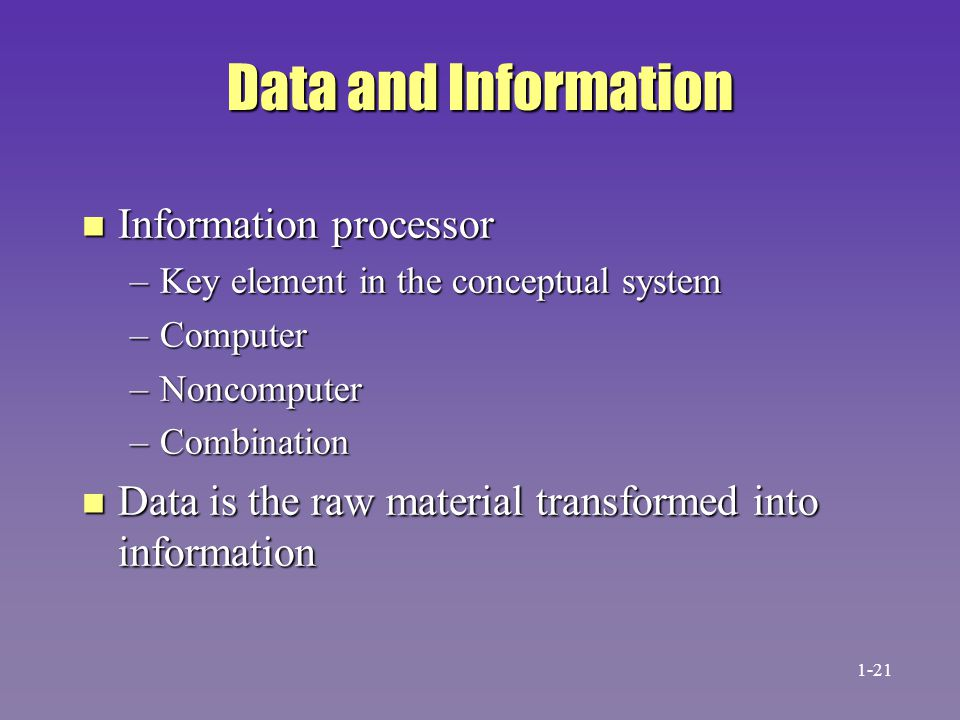 Data and Information Information processor
