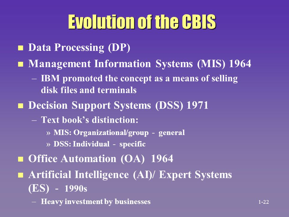 Evolution of the CBIS Data Processing (DP)