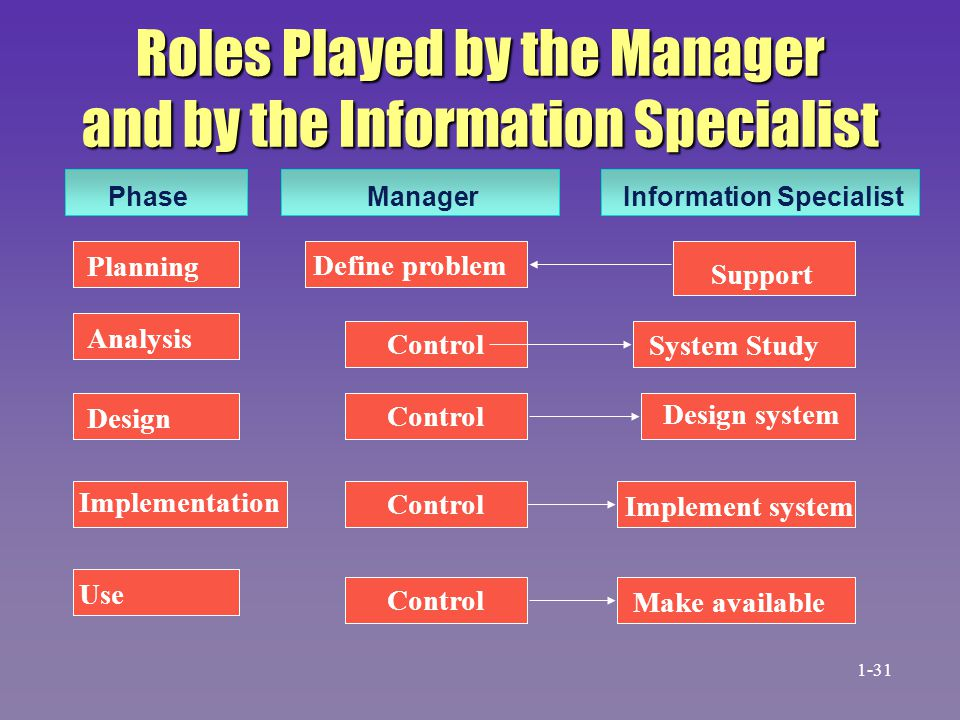 Roles Played by the Manager and by the Information Specialist