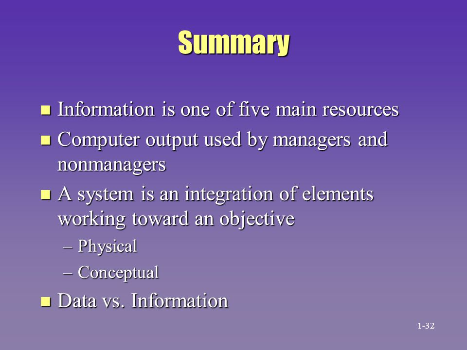 Summary Information is one of five main resources