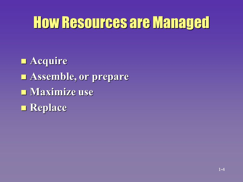 How Resources are Managed