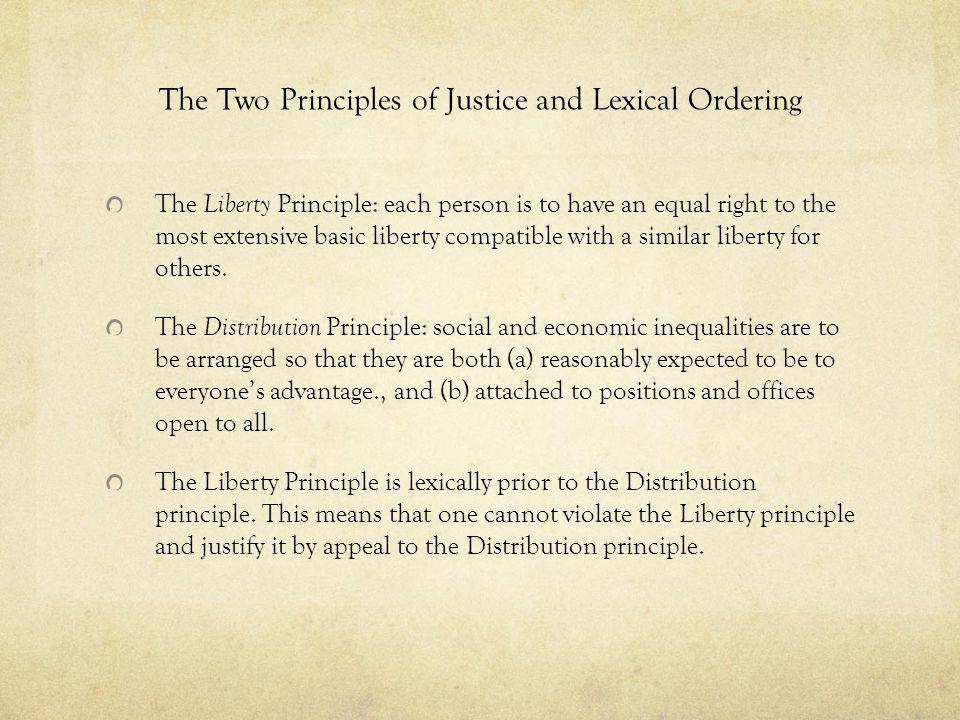 The Two Principles of Justice and Lexical Ordering