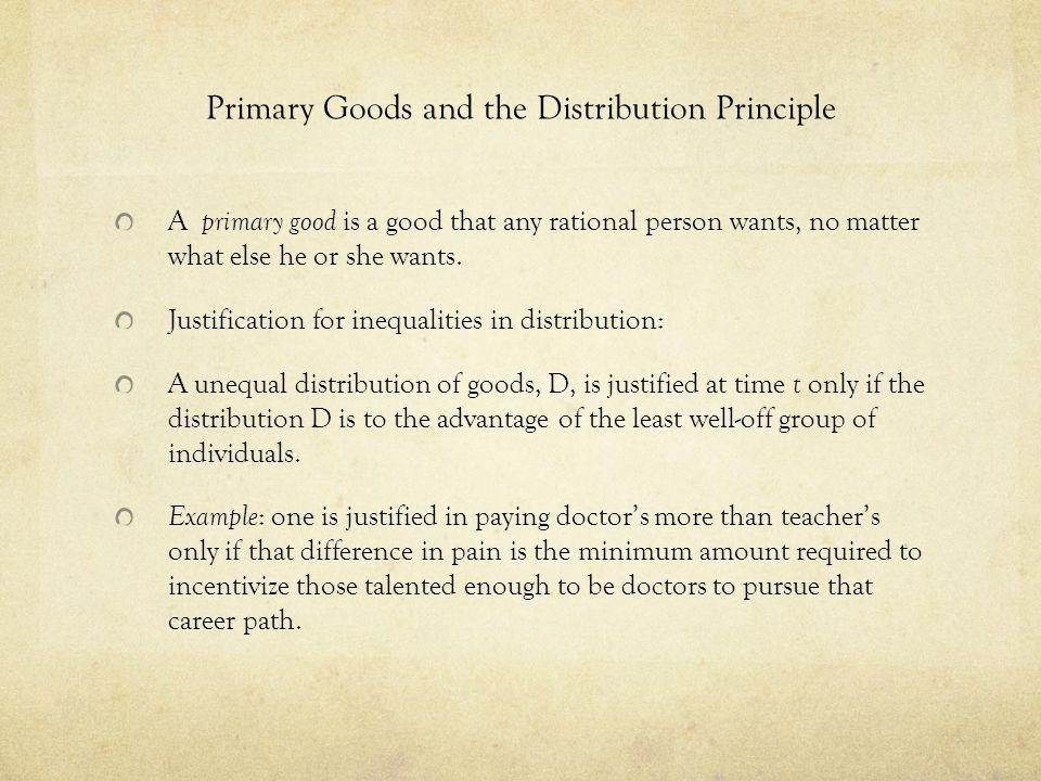 Primary Goods and the Distribution Principle