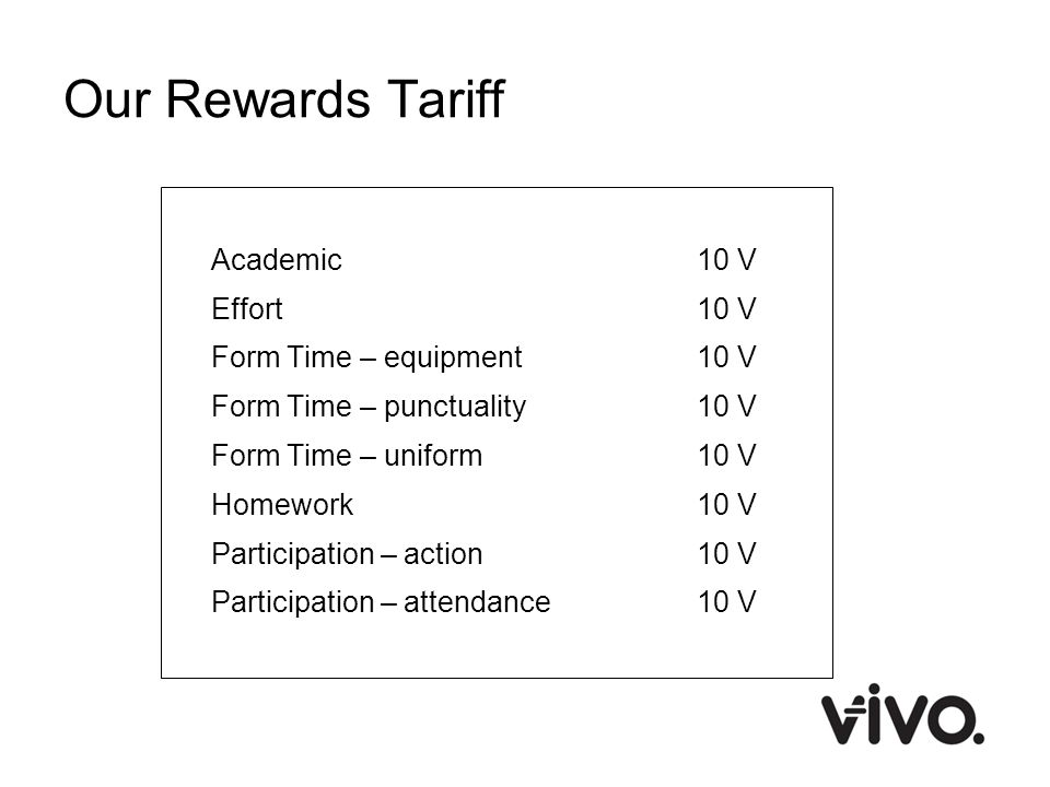 Our Rewards Tariff Academic 10 V Effort 10 V