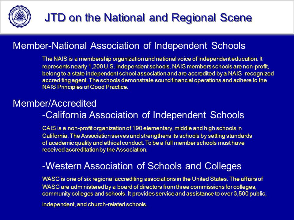JTD on the National and Regional Scene
