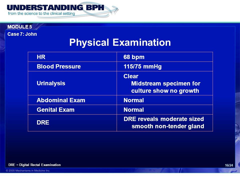 Physical Examination HR 68 bpm Blood Pressure 115/75 mmHg Urinalysis
