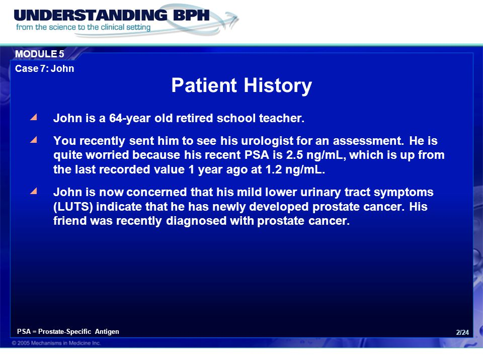 Patient History John is a 64-year old retired school teacher.