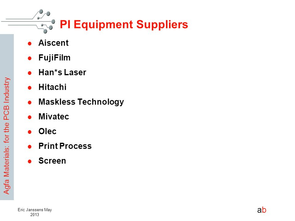PI Equipment Suppliers