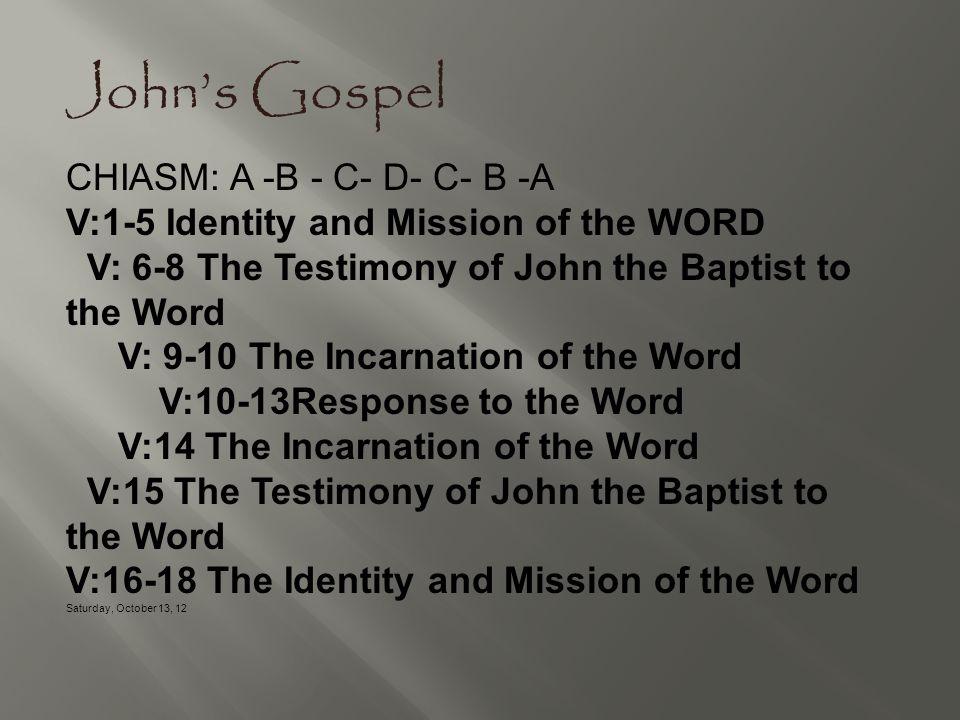 John's Gospel CHIASM: A -B - C- D- C- B -A