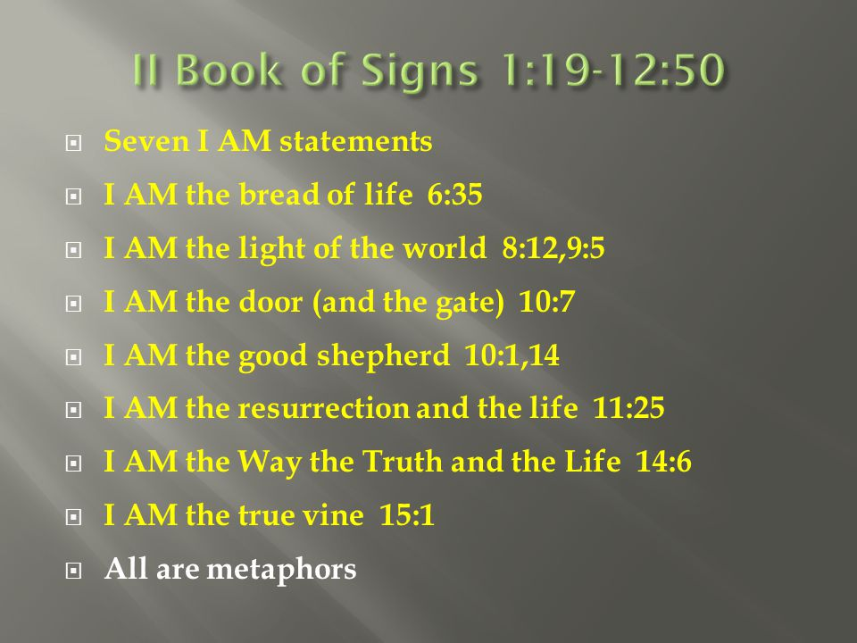 II Book of Signs 1:19-12:50 Seven I AM statements