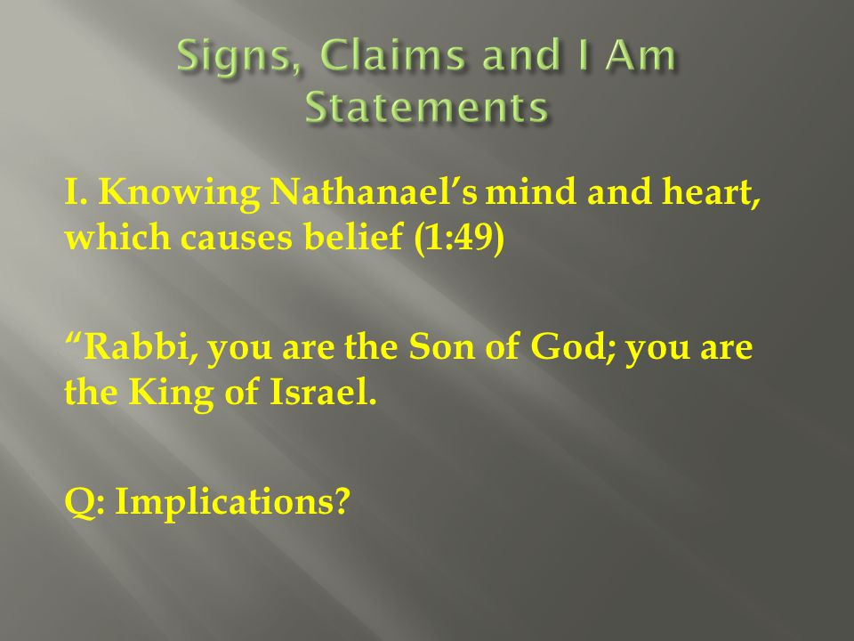 Signs, Claims and I Am Statements