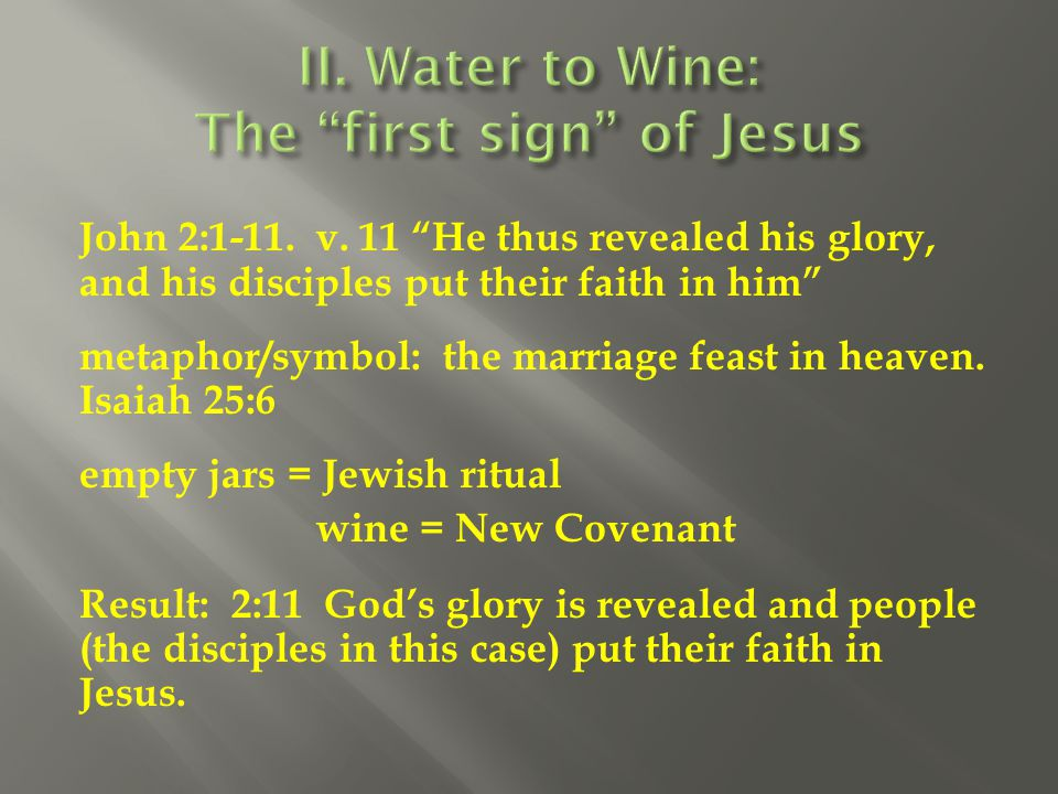 II. Water to Wine: The first sign of Jesus