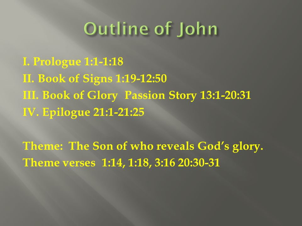 Outline of John I. Prologue 1:1-1:18 II. Book of Signs 1:19-12:50