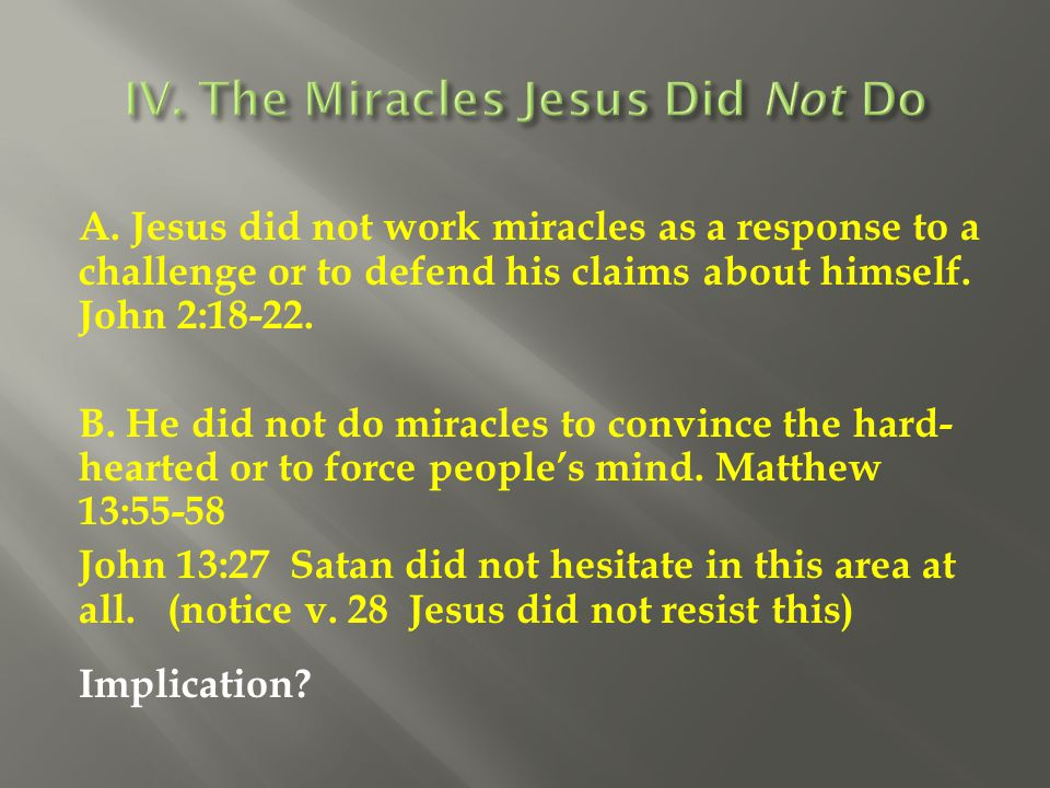 IV. The Miracles Jesus Did Not Do