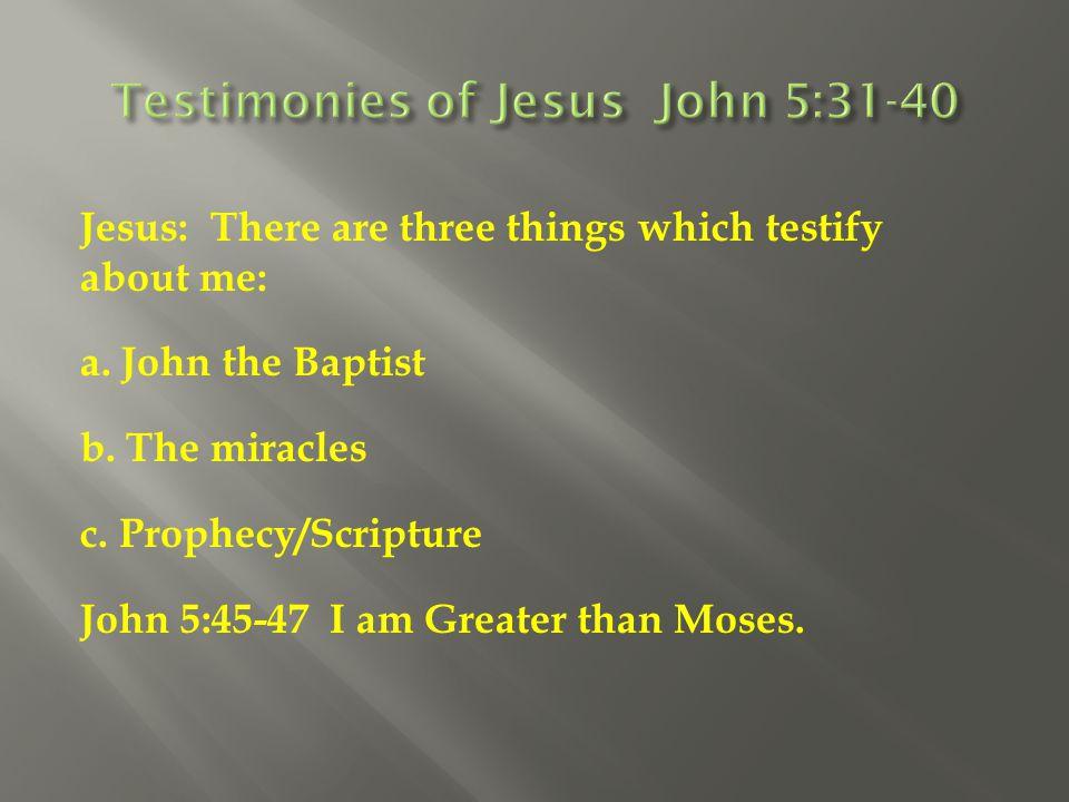 Testimonies of Jesus John 5:31-40