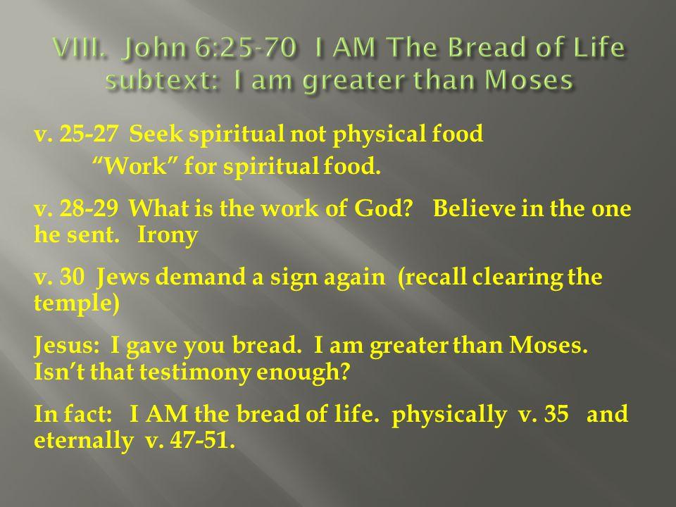 VIII. John 6:25-70 I AM The Bread of Life subtext: I am greater than Moses