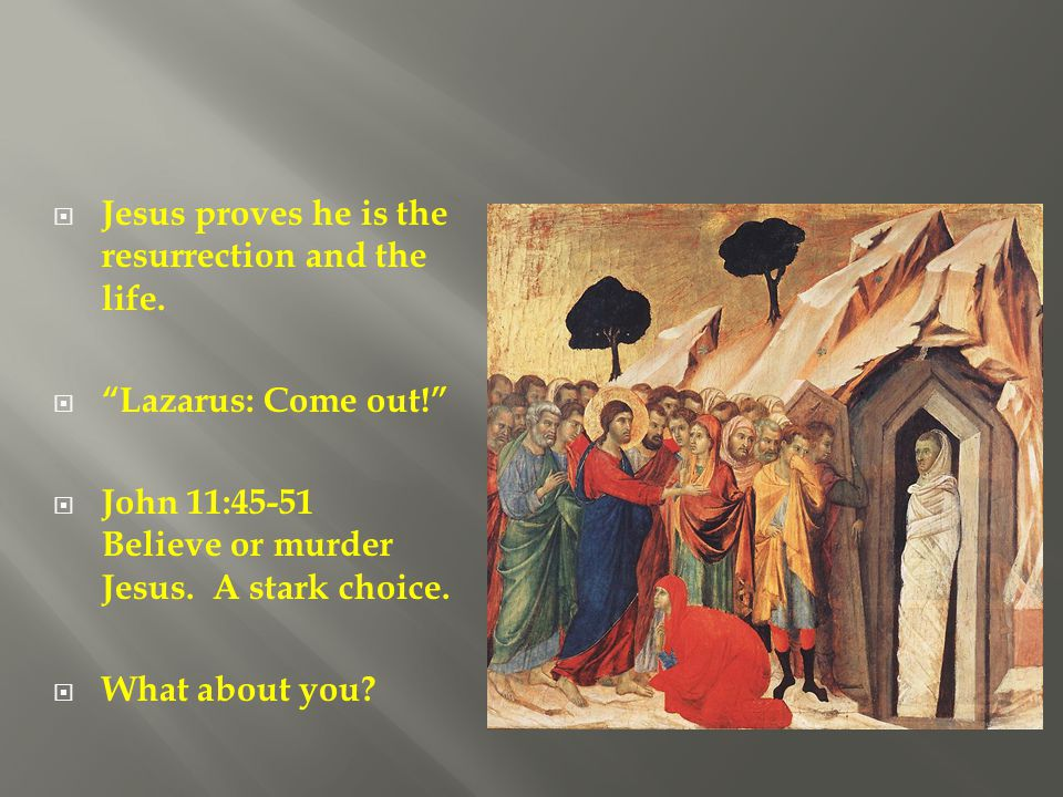 Jesus proves he is the resurrection and the life.