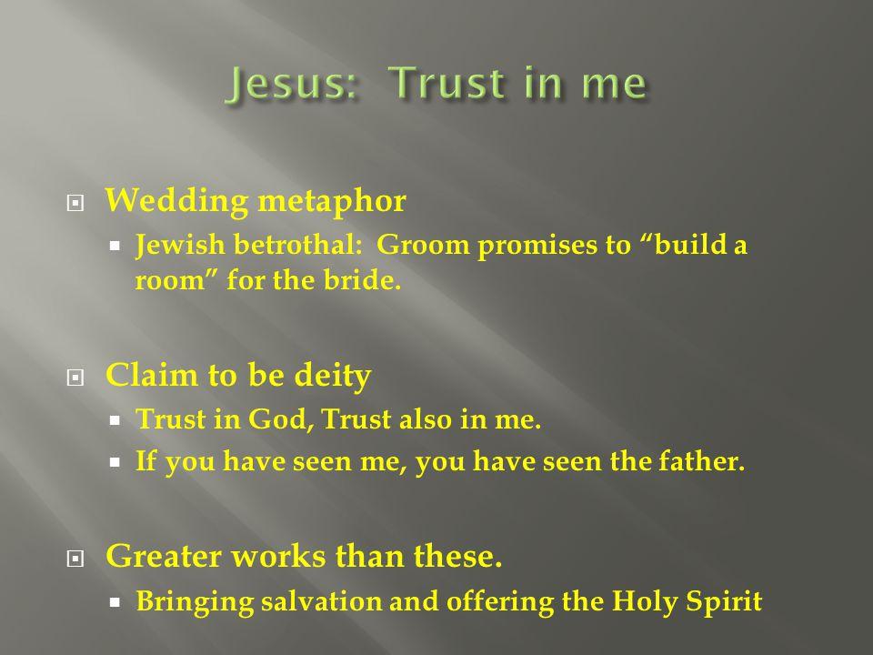 Jesus: Trust in me Wedding metaphor Claim to be deity