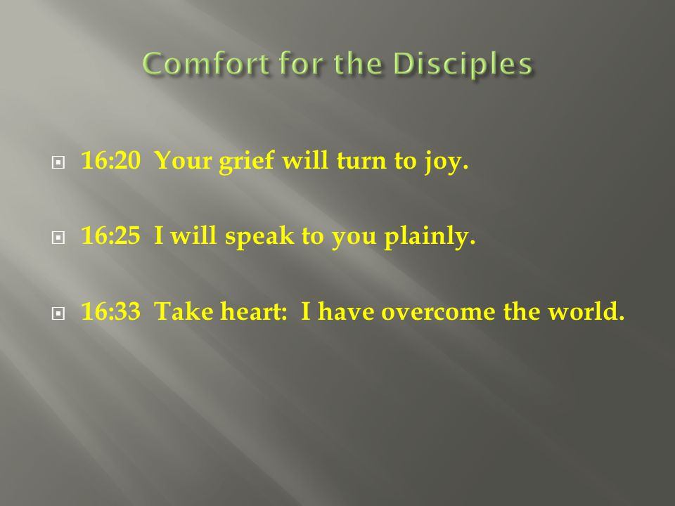 Comfort for the Disciples