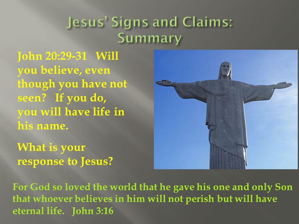 Jesus' Signs and Claims: Summary