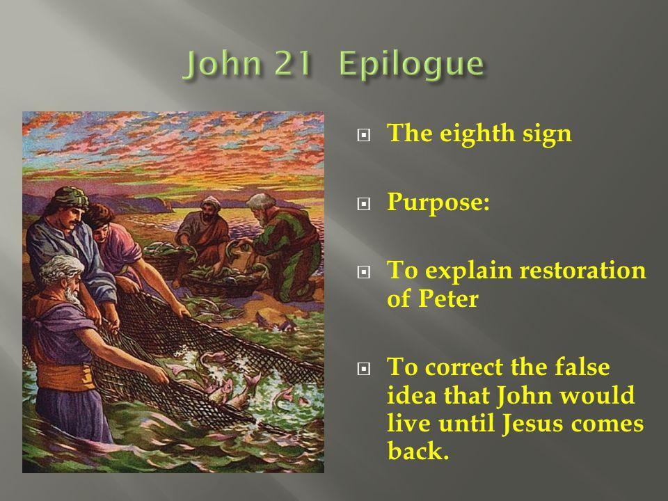 John 21 Epilogue The eighth sign Purpose: