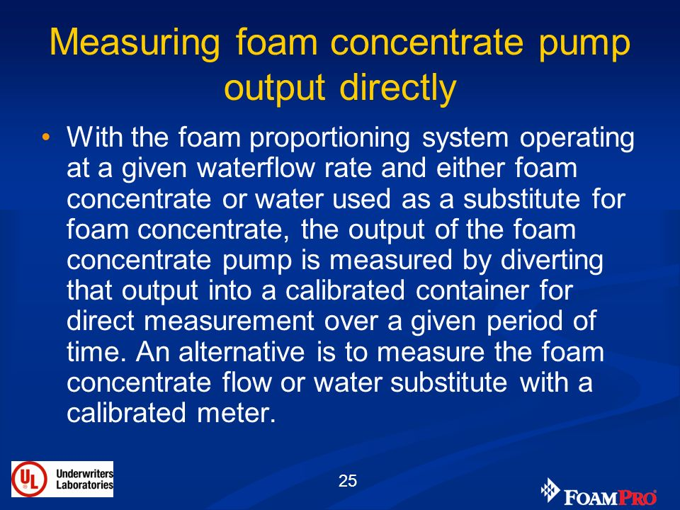 Measuring foam concentrate pump output directly