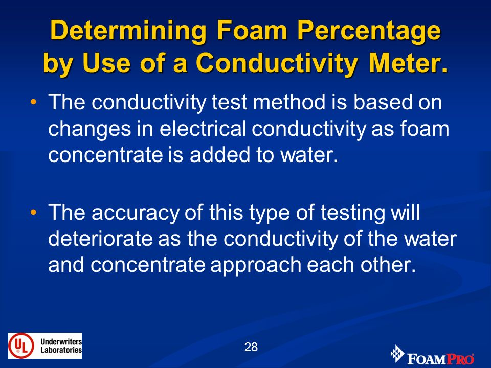 Determining Foam Percentage by Use of a Conductivity Meter.