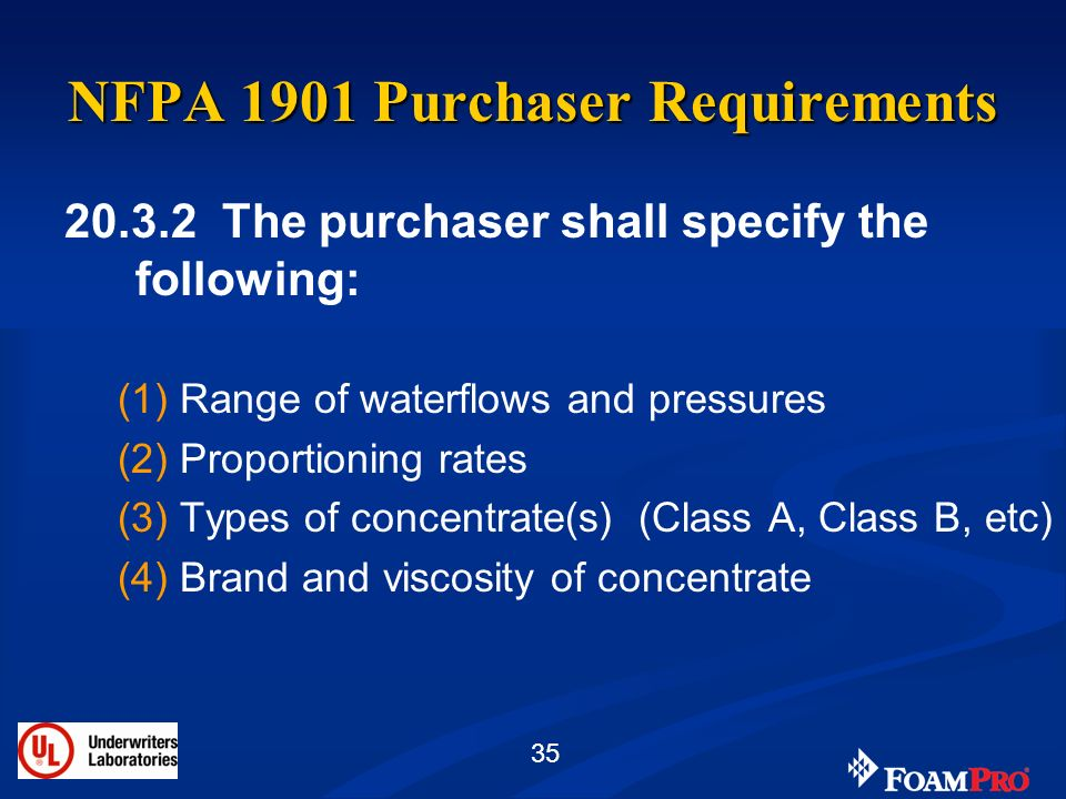 NFPA 1901 Purchaser Requirements