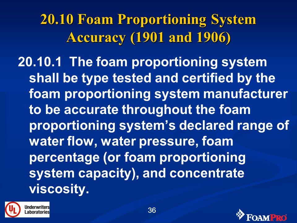 20.10 Foam Proportioning System Accuracy (1901 and 1906)