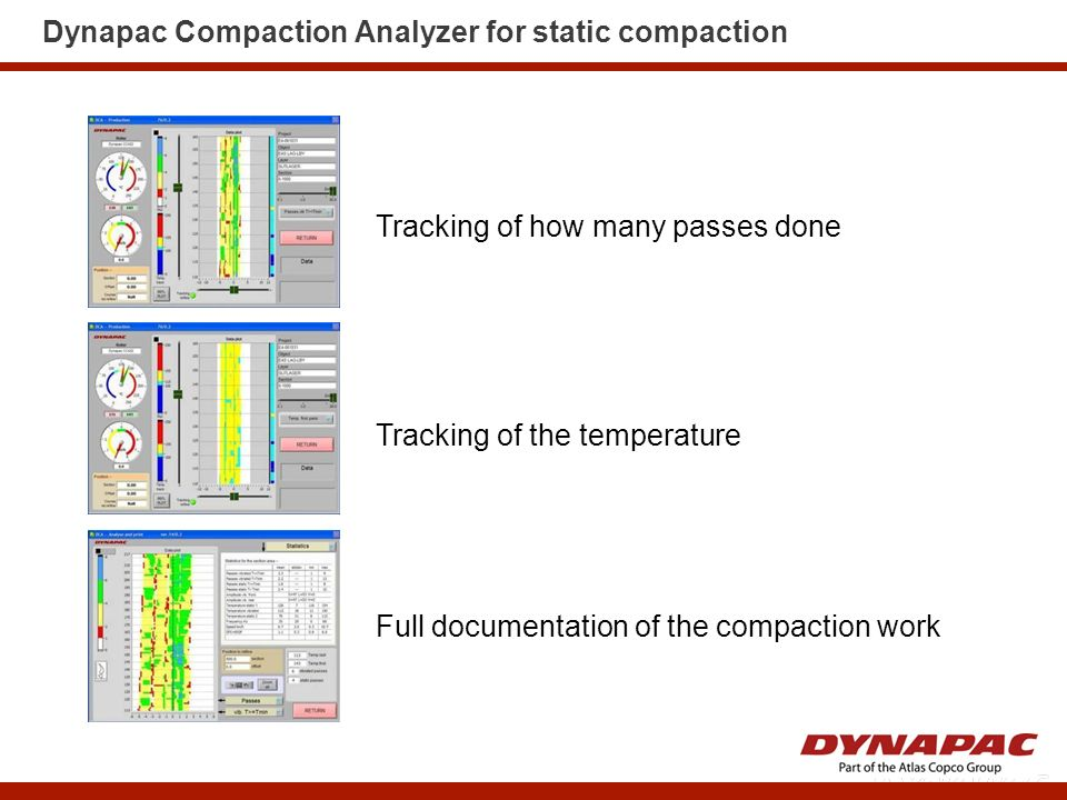 Dynapac Compaction Analyzer for static compaction