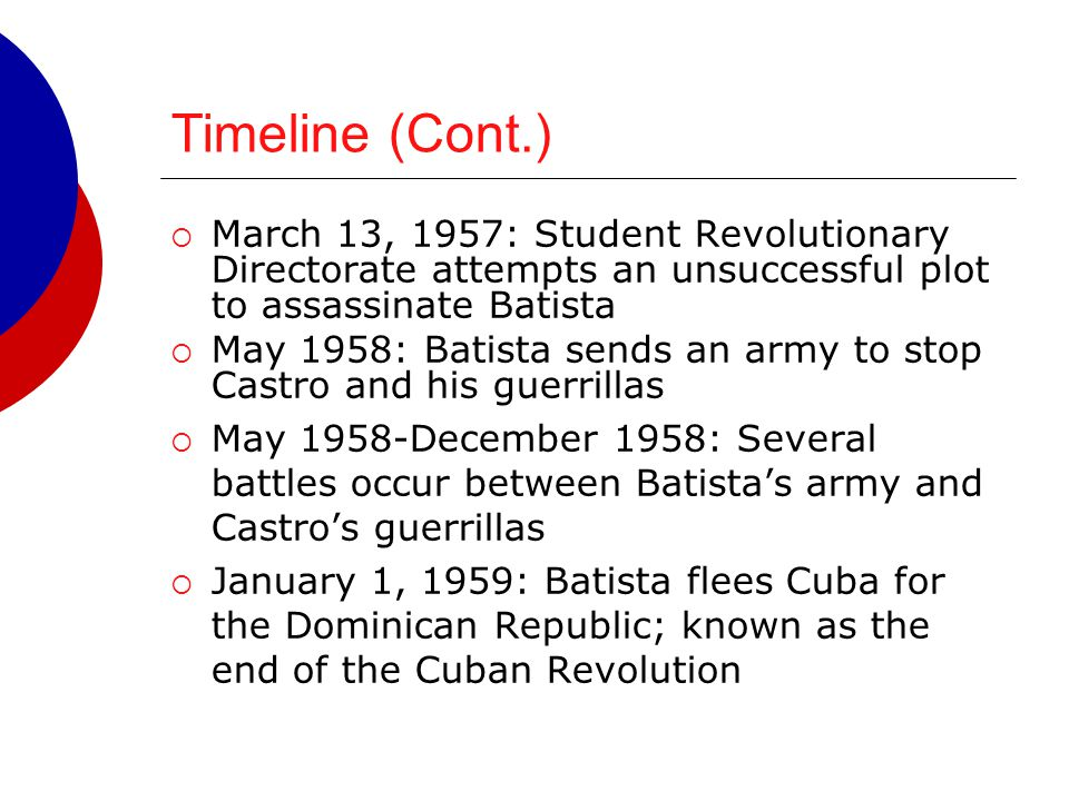 Timeline (Cont.) March 13, 1957: Student Revolutionary Directorate attempts an unsuccessful plot to assassinate Batista.