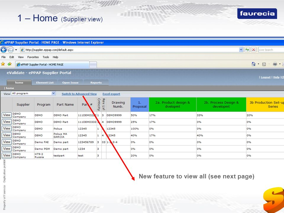 S 1 – Home (Supplier view)