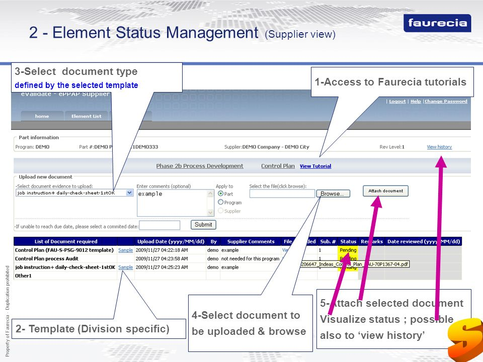 2 - Element Status Management (Supplier view)