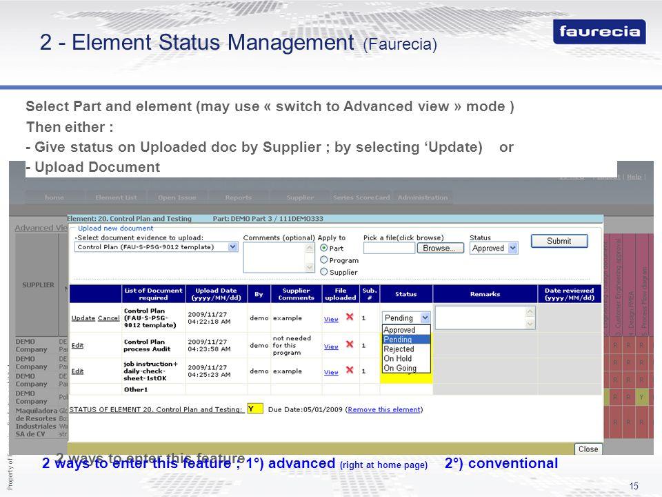 2 - Element Status Management (Faurecia)