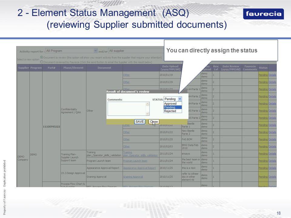 2 - Element Status Management (ASQ)