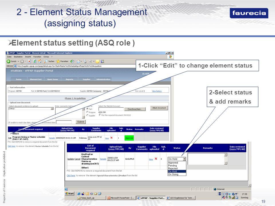 2 - Element Status Management (assigning status)