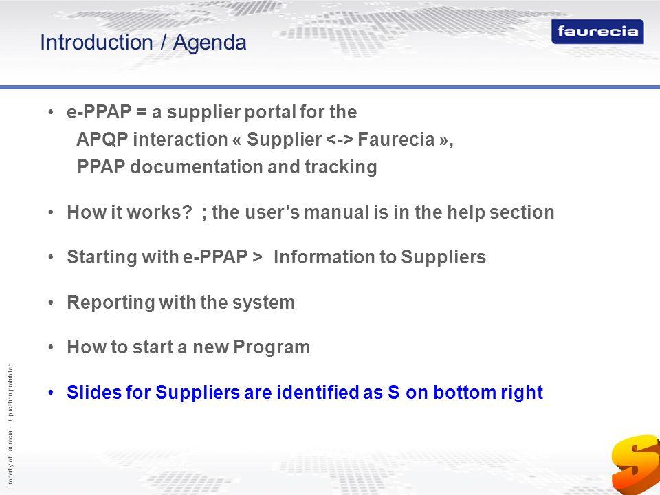 S Introduction / Agenda