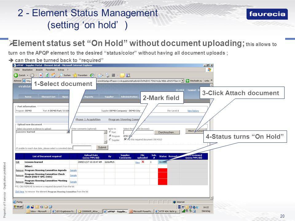 2 - Element Status Management (setting 'on hold' )