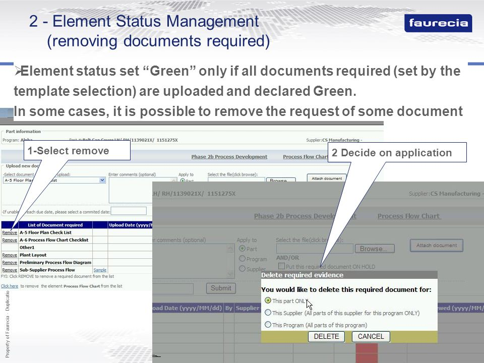 2 - Element Status Management (removing documents required)