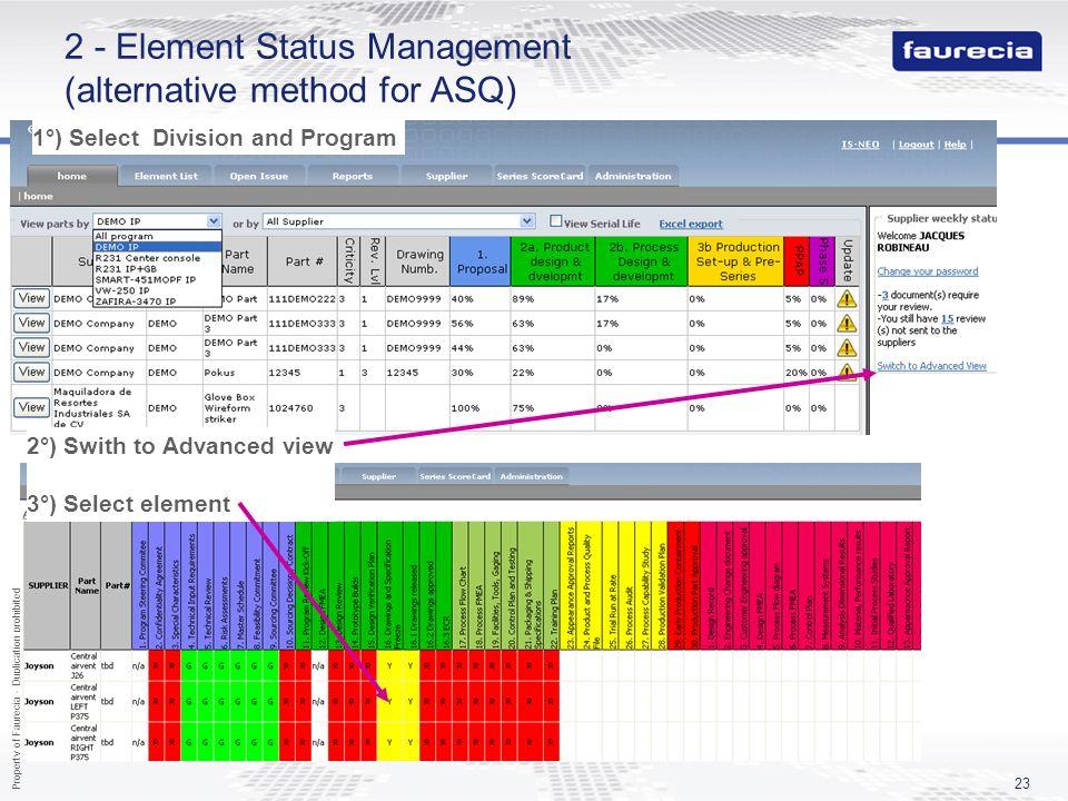 2 - Element Status Management (alternative method for ASQ)
