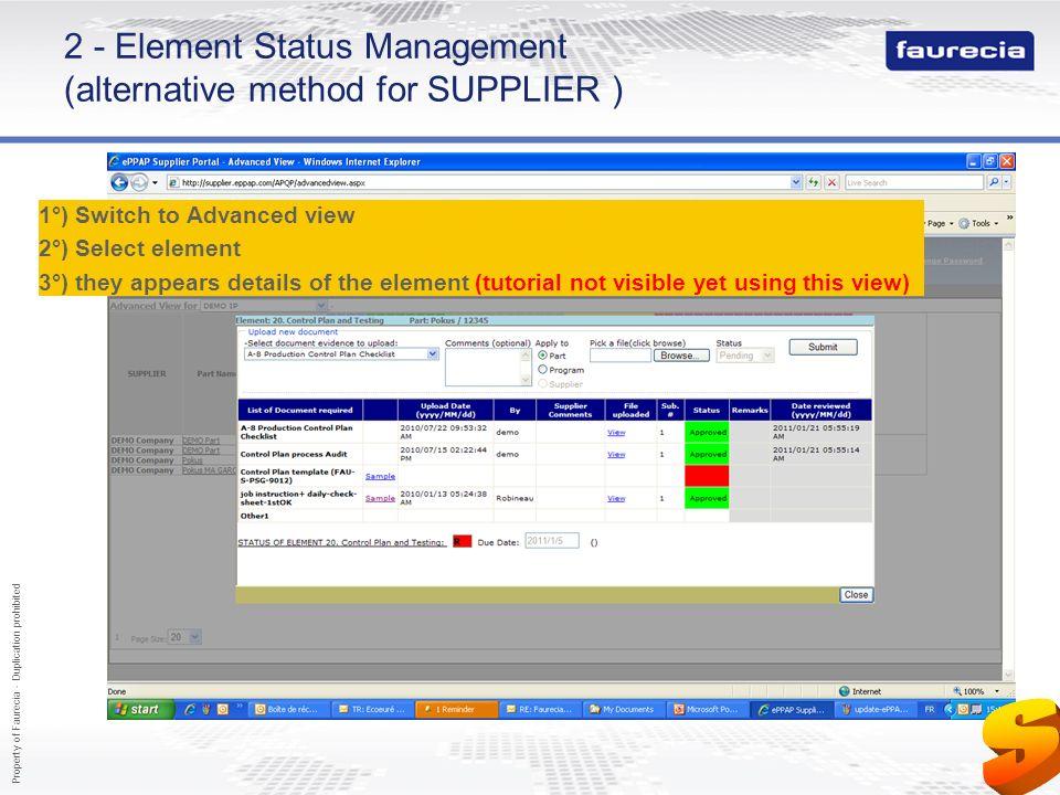 2 - Element Status Management (alternative method for SUPPLIER )