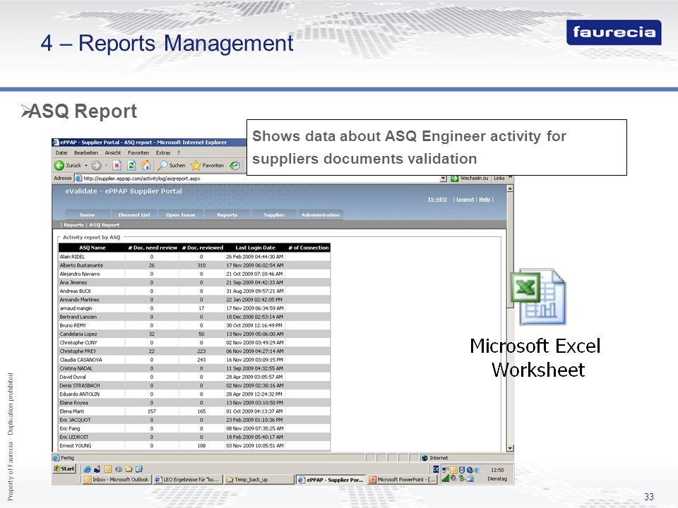 4 – Reports Management ASQ Report