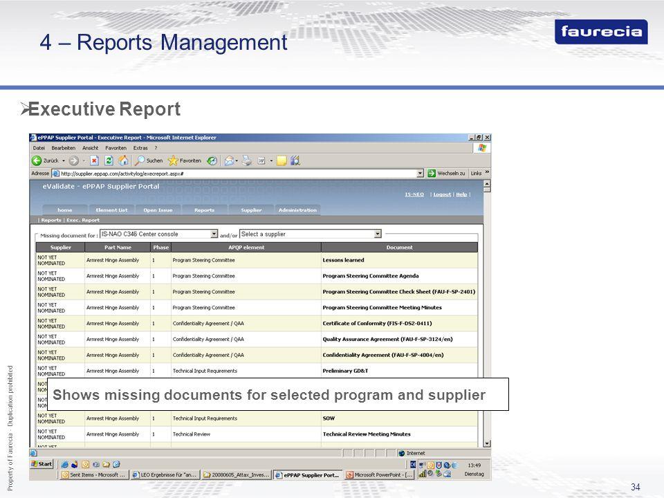 4 – Reports Management Executive Report