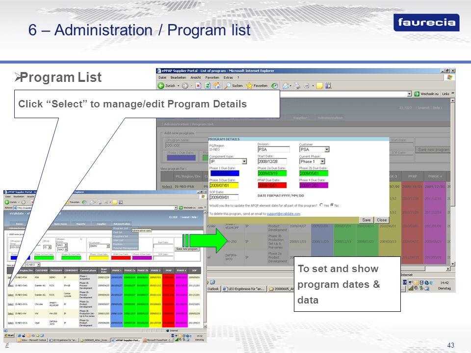 6 – Administration / Program list