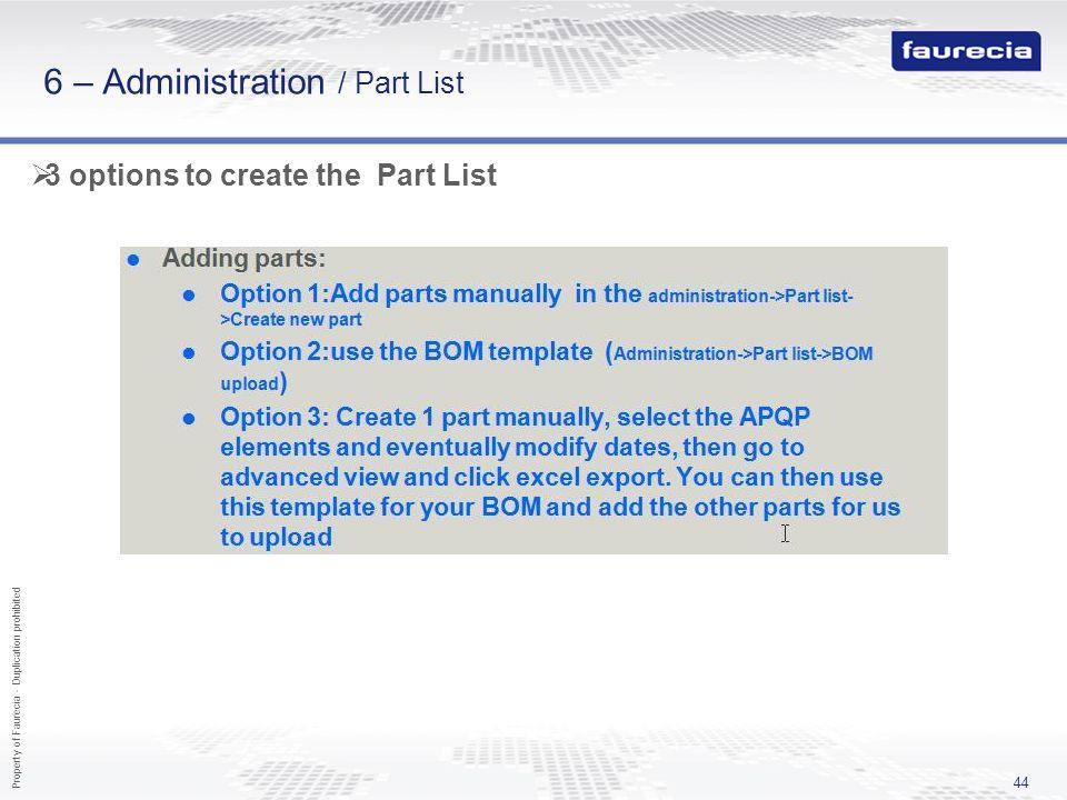 6 – Administration / Part List