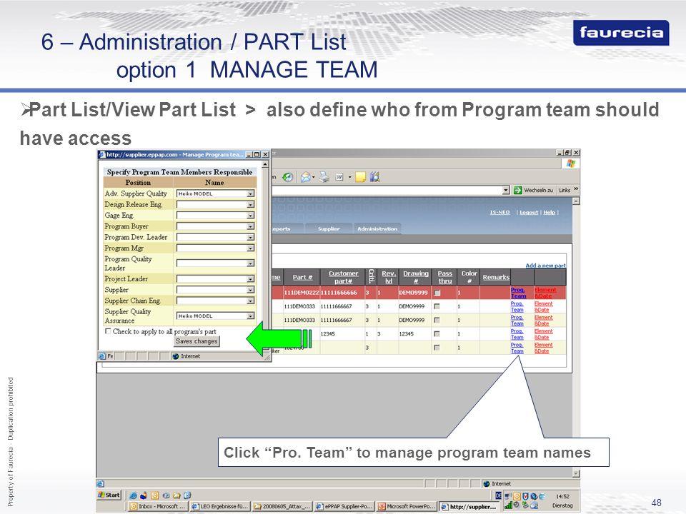 6 – Administration / PART List option 1 MANAGE TEAM