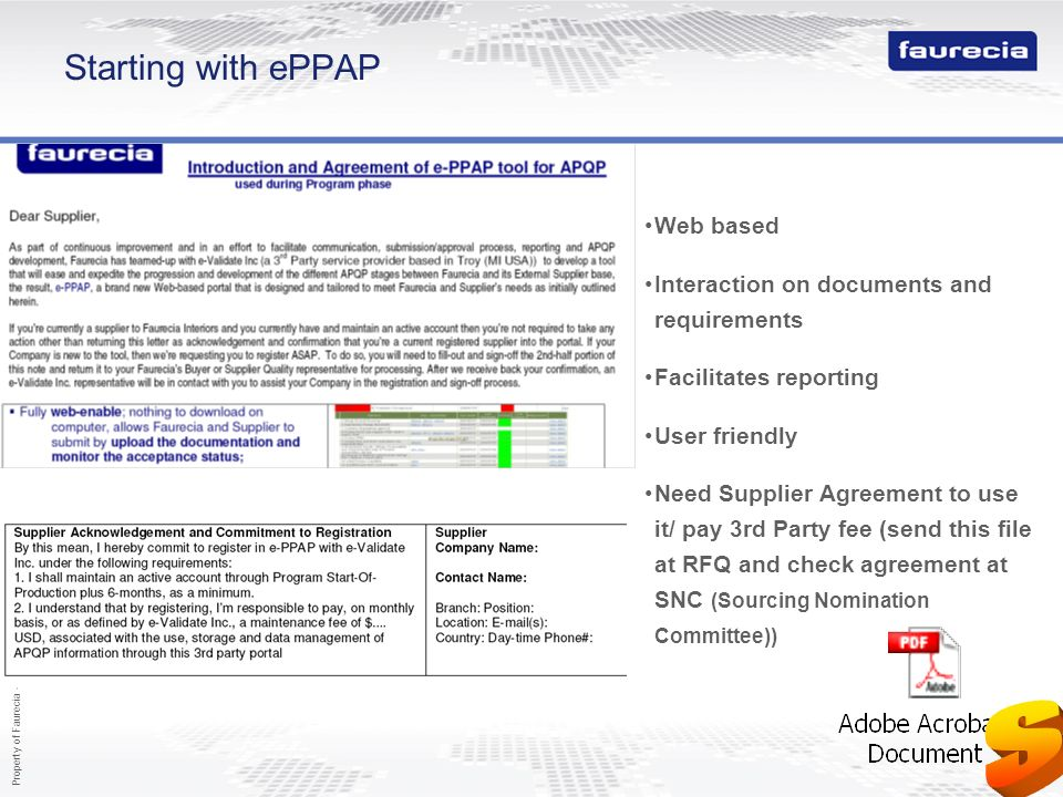 S Starting with ePPAP Web based